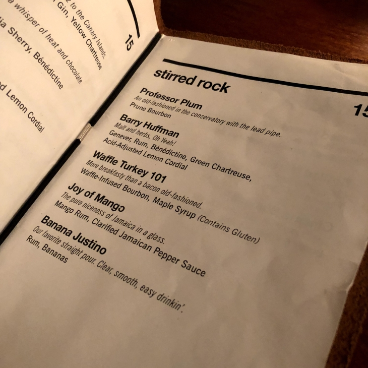 existing conditions cocktail menu